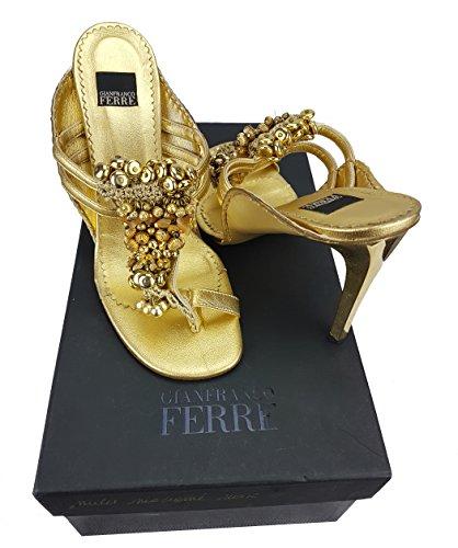 Ferré Gianfranco Gianfranco Ferré Sandalette - Pompen / Goud Mit Perlen Gr. 38 Origineel