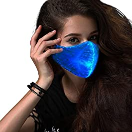 SAFEBAO LED Rave Mask 7 Colors Luminous Light for Men Women Face Mask Music Party Christmas Halloween Light Up Mask…