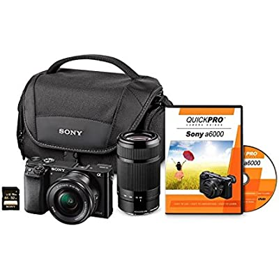 Sony A6000 24MP Bundle with 16-50mm Lens, 55-210mm Lens, 32GB SD Card, and Case