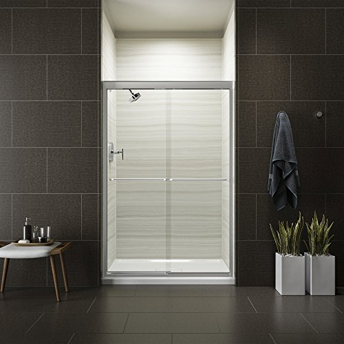 Kohler K-702221-L-SHP Fluence Frameless Bypass Shower Door, Bright Polished Silver