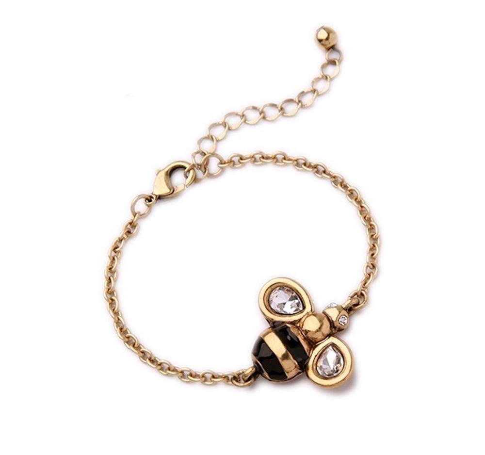 Fashion Jewelry MISASHA Logo Gold Tone Chain Inspired Bumble Bee Charm Bracelet For Women