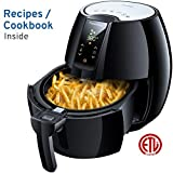 FrenchMay Touch Control Air Fryer, 3.7Qt 1500W, Comes with Recipes & Cook Book (Black)