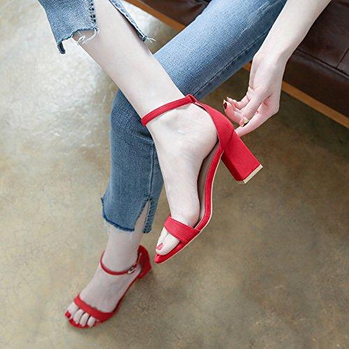 tacchi tacco cinturino sandali red YMFIE alti eleganza moda open quadrato toe signore Estate v6qa1