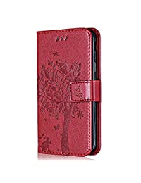 Galaxy S9 Slim Leather Case, Bear Village® Magnetic Wallet Cover with Card Holders and Stand Feature, Samsung Galaxy S9 Shockproof Bumper Case, Red