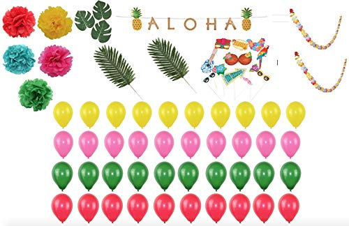 (Hawaiian Luau Tropical Party Supplies and Decorations Including Leis Flowers Garland, Photo Booth Props, Pom Poms, Pineapple Aloha Banner, Palm Leaves, Tropical Leaves, and Balloons. Great for Birthday, Beach, or)