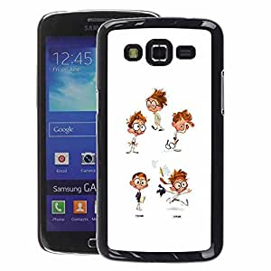 A-type Arte & diseño plástico duro Fundas Cover Cubre Hard Case Cover para Samsung Galaxy Grand 2 (Cool Kid Ginger White Character Glasses)