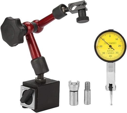 Magnetic Base Stand Holder Adjustable+Dial Test Indicator Gauge White-face Set