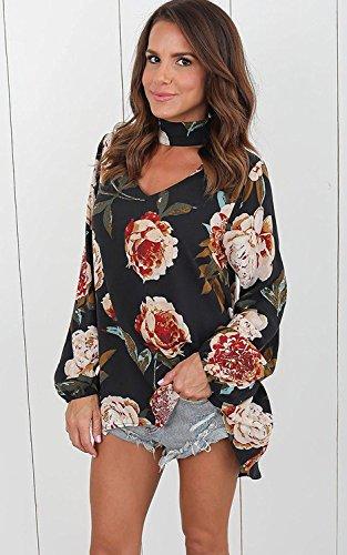 Imprim Longues T Shirt Chemise Choker Casual Tomwell Fleur Tops Mode Chemisiers Femmes Cou Noir V Blouse Manches wX5Z76q