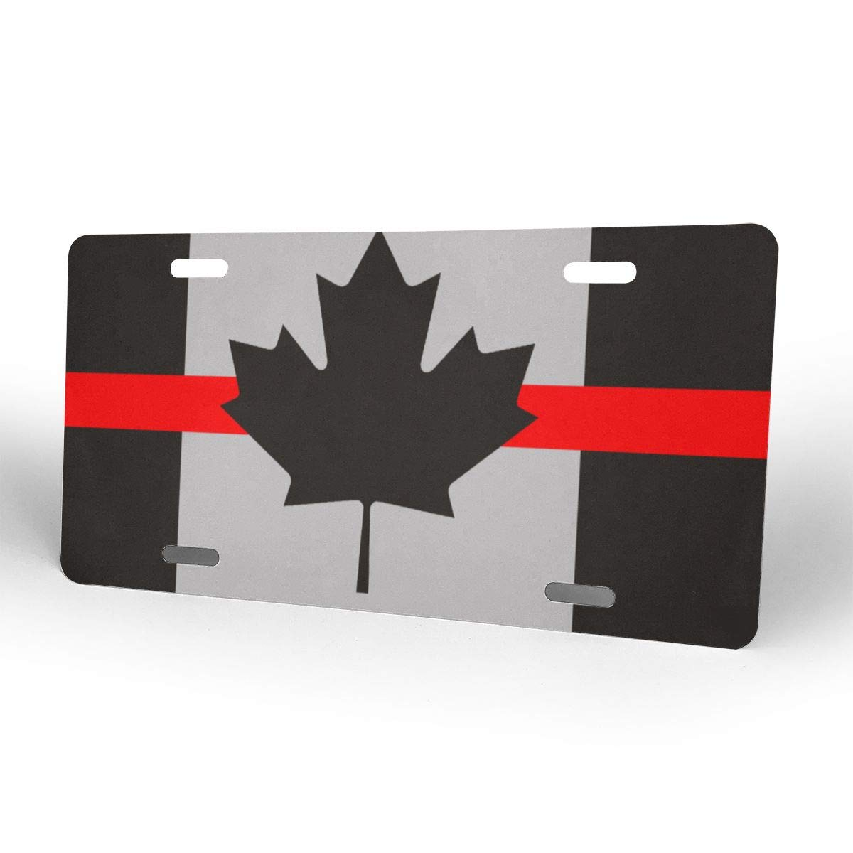 Thin Red Line Canada Flag Firefighter Paramedics Metal License Plate Vanity Car Tags 6 X 12