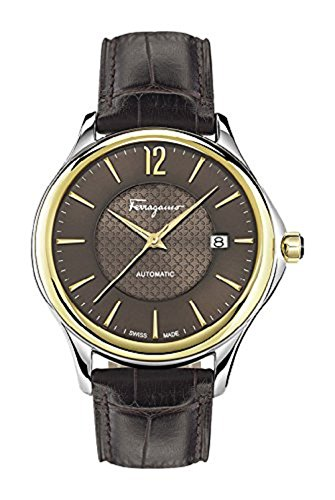 Salvatore-Ferragamo-Mens-Time-Automatic-Swiss-Quartz-Stainless-Steel-and-Leather-Casual-Watch-ColorBrown-Model-FFT030016