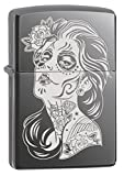 Zippo Lighter: Day of the Dead Girl, Engraved - Black Ice 77667