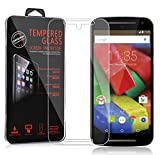 Cadorabo Tempered Glass works with Motorola MOTO G2 – HIGH TRANSPARENCY – Shockproof Scratch Resistant Gel Case Protective Shell Bumper Skin Back Cover