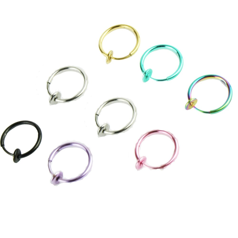 8PCS Set Stainless Steel Titanium Hoop Earrings for Cartilage Nose Ears Belly Body Piercing Rings Micropromo TOR10