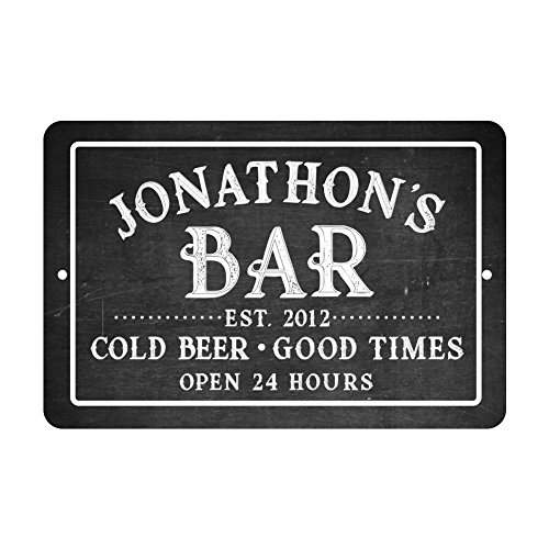 (Personalized Chalkboard Bar Cold Beer Good Times Metal Room Sign)