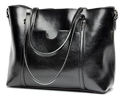 Obosoyo Women s Handbag Genuine Leather Tote Shoulder Bags Soft Hot Black 407d805fe3af1