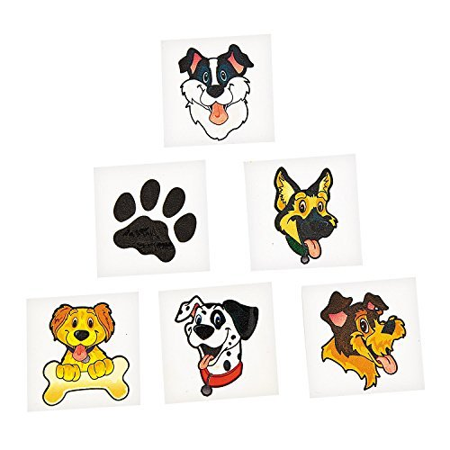 Puppy Dog Party Favor Children's Temporary Tattoos - 72 pcs