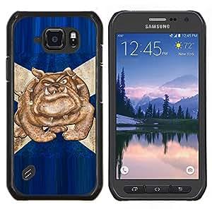 EJOOY---Cubierta de la caja de protección para la piel dura ** Samsung Galaxy S6Active Active G890A ** --British Bulldog Bandera Azul Inglaterra Símbolo