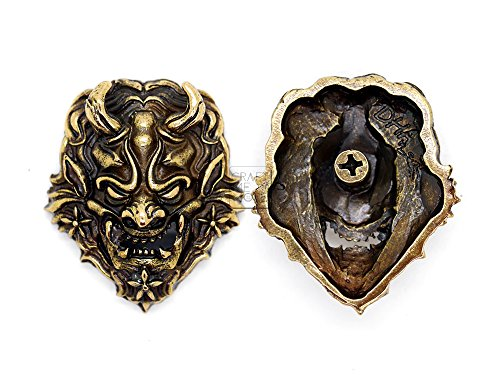 CRAFTMEmore 40x35 mm Japanese Devil Oni Demon Concho Screw Back Leathercraft Decoration Pack of 2 HQR101 (Bronze) ()