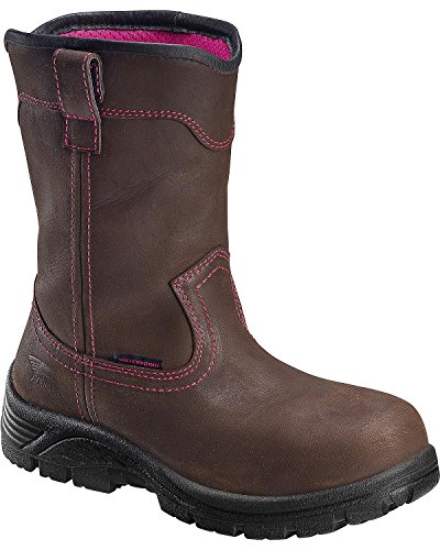 Avenger Safety Footwear Women's Avenger 7146 Comp Toe Waterproof Pull On EH Work Boot Industrial and Construction Shoe, Brown, 7 2E US