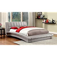 Furniture of America Marilyn Leatherette Platform Bed, California King, Gray