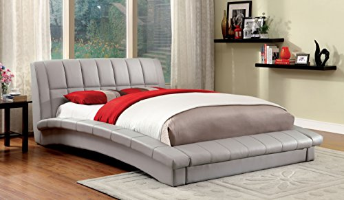 California King Leather Footboard (Furniture of America Marilyn Leatherette Platform Bed, California King, Gray)