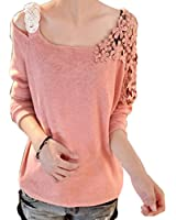 0630c6c7642 Rrimin Watermelon Red Fashion Womens Vintage Long Sleeve Casual Top Lace Shirt  Blouse