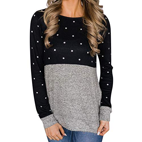 (Sunhusing Womens Dot Print Solid Color Patchwork Round Neck Long-Sleeve Sweatshirt Pullover T-Shirt Black)