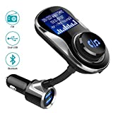 olagoya Bluetooth Car FM TransmitterAdapter, Wireless Radio Transmitterwith 1.4 Inch Display and Dual USB Charger, Support AUX Input/Output, TF Card Mp3 Player