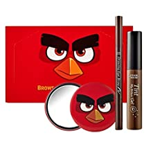 Etude House Brows Quick Make up Set Tint My Brows Gel #01 brown 5g, Drawing eyebrow #03 brown , AngryBirds Mirror