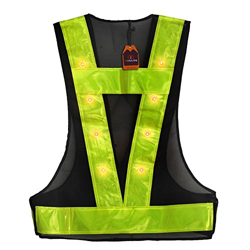 Yisun Led Reflective Safety Vest W Storage Bag High