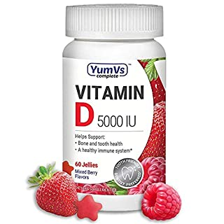 YumVs Complete Vitamin D3 Jellies (Gummies) 5000 IU of Vitamin D, Mixed Berry Flavor (60 Ct); Daily Dietary Supplement for Men and Women, Chewable, Vegetarian, Kosher, Halal, Gluten Free