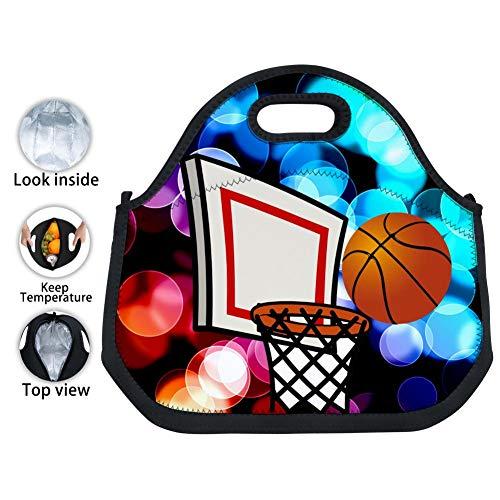 YPOHG Basketball Hoop Printed Insulated Lunch Bag, Neoprene Lunch Bags for Women Kids Girls Men Teen Boys, Picnic School Travel Work Tin Foil Tote Bag]()