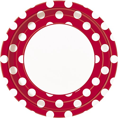 Red Polka Dot Paper Plates, 8ct]()