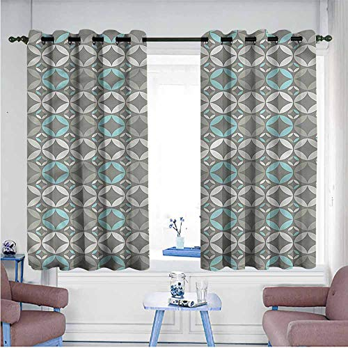 VIVIDX Kids Curtains,Grey and Blue,Retro Circles,for Bedroom Grommet Drapes,W55x45L (Circles Swag Grey)