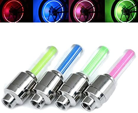 2 x Multi Colour LED Neon Car Bike Wheel Tire Tyre Valve Dust Cap Spoke Lights