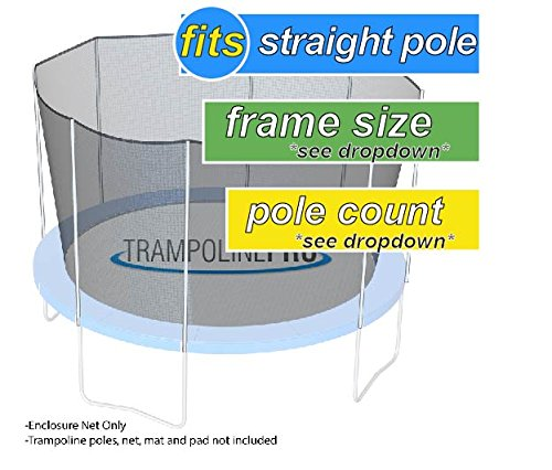 Nets For Trampoline Enclosures | By Trampoline Pro | Select Your Pole Type | Select Your Size, Shape, and Number of Poles | NETS ONLY (Straight Poles, 14ft Frame - 8 poles) by Trampoline Pro