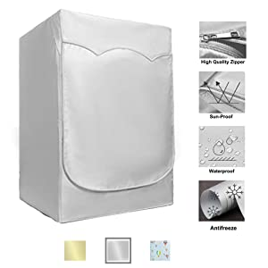 """QLLY Washer/Dryer Cover for Front-loading Machine - Waterproof, Dustproof, Sun-Proof, W27""""D33""""H39""""Suitable for most Washers/Dryers on US and Canadian market (Silver)"""