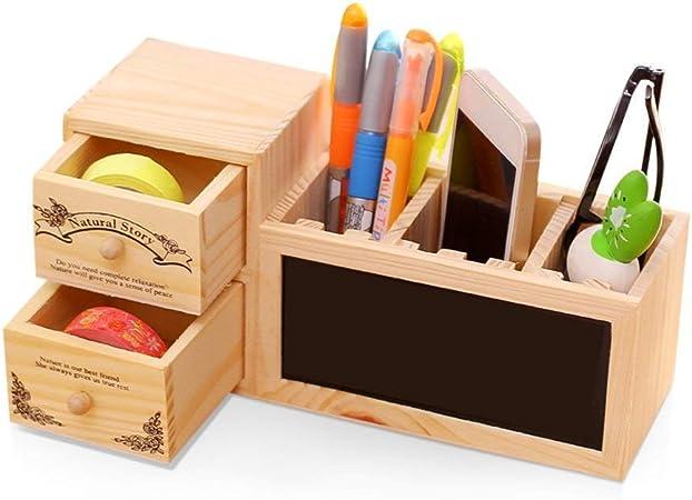 Lvcky - Estuche Organizador para lápices de Madera, Organizador de Tazas para Escritorio, papelería con Pizarra, Escuela, Oficina, Suministros de Regalo: Amazon.es: Hogar