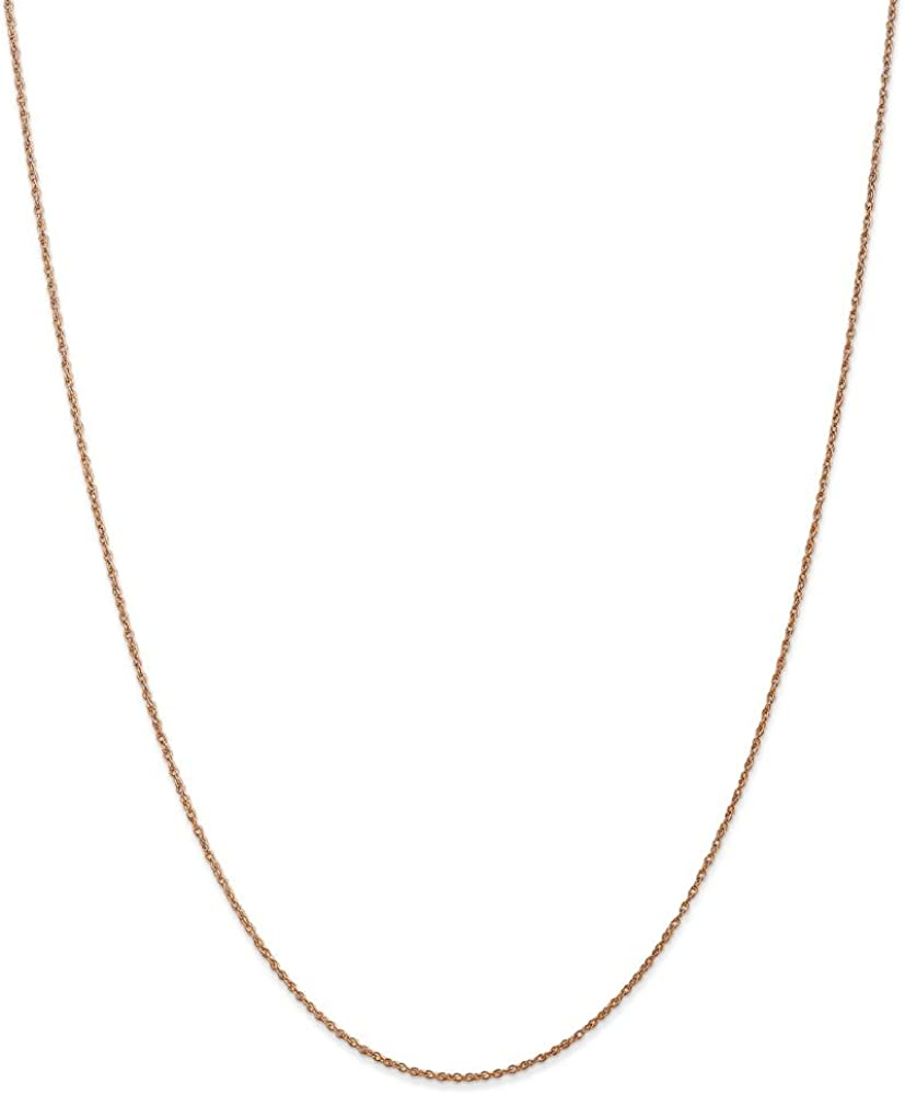 Mia Diamonds 14k Rose Gold .8mm Light-Baby Rope Chain Necklace