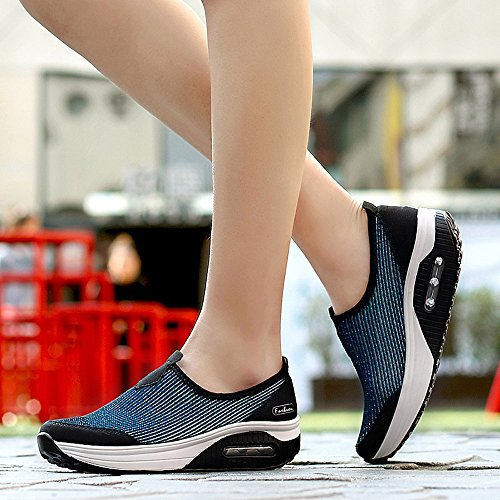 Enllerviid Tyc-7673yinlan40 Dames Slip Op Platformschoenen Vormgeven Wandelen Fitness Toning Uitwerken Sneakers Blauw 7.5 B (m) Us