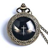 Cross with Wings Quartz Pocket Watch Bronze Clock Creative Necklace Watch Pendant Gift for Men
