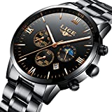 RBStyle Mens Stainless Steel Watches Waterproof Date Calendar Sport Design Analogue Business Casual Luxury Dress Black Wrist Watches