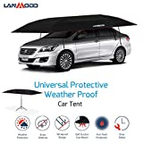 LANMODO Pro Semi-auto Car Umbrella Tent Cover Movable Carport Foldable with Anti-UV,Water-Proof, Proof Wind,Snow,Storm,Hail,Falling Objects Features 188.97X90.5 inch (4.8M Semi-auto with Stand, Black)