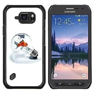 EJOOY---Cubierta de la caja de protección para la piel dura ** Samsung Galaxy S6Active Active G890A ** --Bombilla Metáfora Goldfish minimalista Luz Blanca