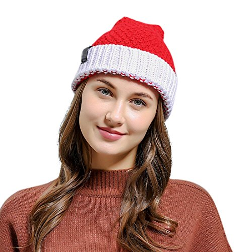 d095bebb401 HINDAWI Santa Hat Christmas Beanie Winter Hats for Women Pom Pom Knitted  Ski Knit Warm Slouch