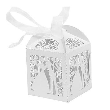 JZK® 50 x Cajas papel blanco para boda favorece dulces bombones dulces confeti, decoraciones