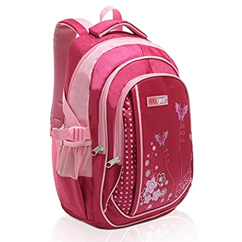 MGgear 18 Inch Girls Butterfly Pink Student School Bookbag / Children's Backpack (Backpack With Butterflies)