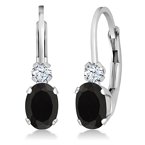 Gem Stone King 0.86 Ct Oval Black Onyx White Created Sapphire 14K White Gold Earrings