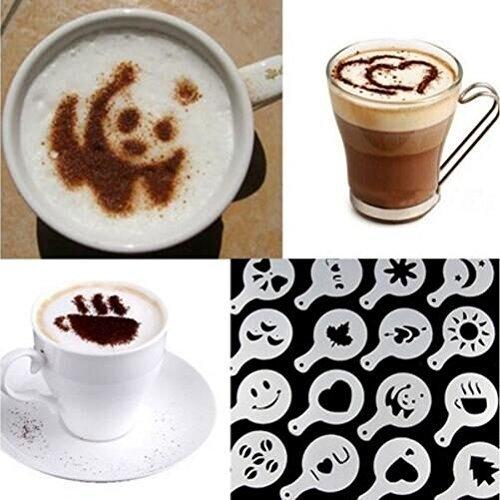 Drhob Hot 16Pcs Coffee Latte Art Stencils DIY Decorating Cake Cappuccino FoamTool CN (Color: White)