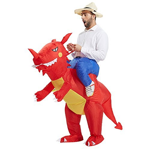 Why Costumes On Halloween (TOLOCO Inflatable Dinosaur T-REX Costume | Inflatable Costumes for Adults| Halloween Costume | Blow Up Costume (Red Dinosaur)